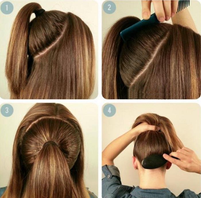 cách cột tóc cao phồng 3