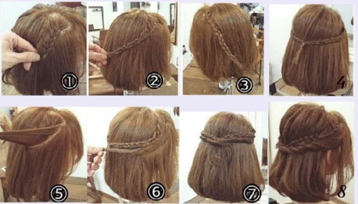 tết tóc ngắn ngang vai vặn xoắn nửa đầu