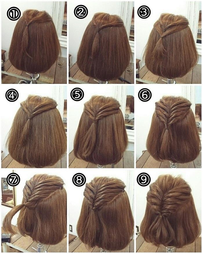 tết tóc ngắn ngang vai vặn xoắn nhiều lớp