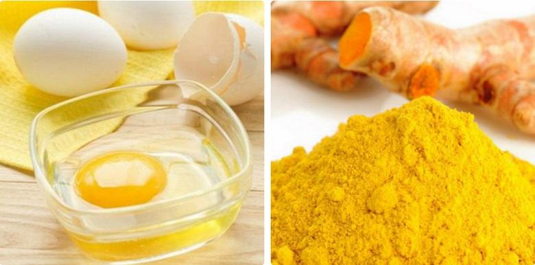 Trứng và bột nghệ trị nám